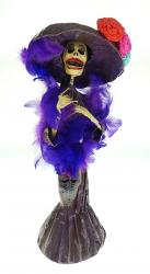 Catrina in Purple feather boa  18 inches tall