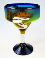 Mexican Margarita glass hand painted designs from Mexico