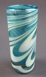 Shot glass, Turquoise and White Swirl