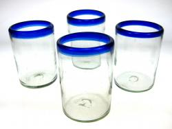 Mexican Glass Blue Rim Tumblers 16 oz set of 4
