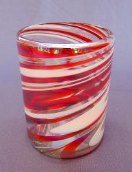 Red & White Swirl Tumbler  12 oz  Mexican blown glass